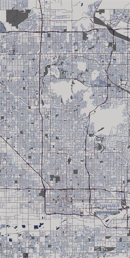 Carte de la ville de Phoenix, Arizona, Etats-Unis illustration de vecteur