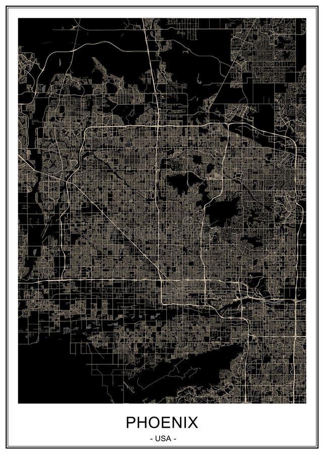 Carte de la ville de Phoenix, Arizona, Etats-Unis illustration stock