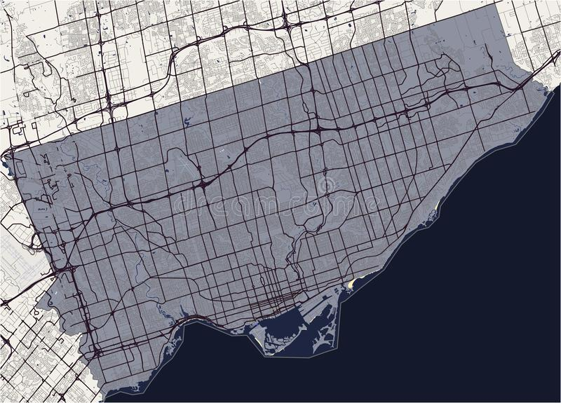 Carte de la ville de Toronto, Canada illustration de vecteur