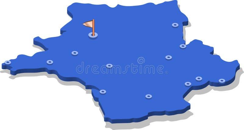 Carte De La France 3d Avec Des Villes Illustration De