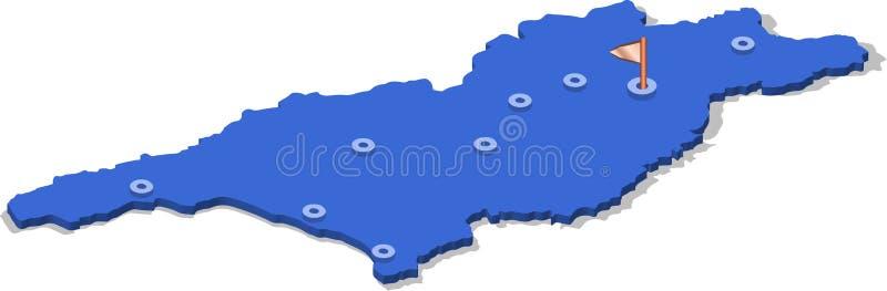 carte de la vue 3d isométrique de la Géorgie avec la surface et les villes bleues illustration libre de droits