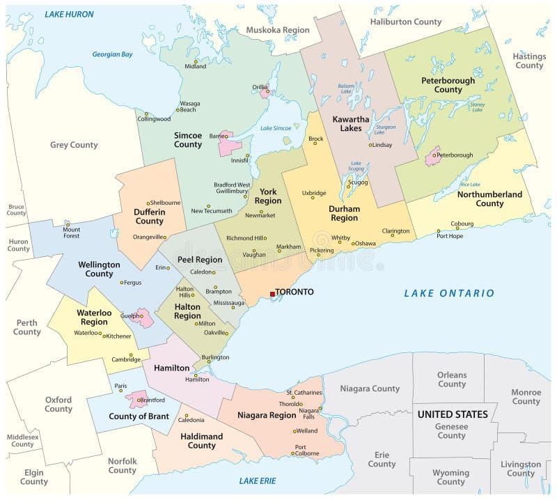Carte de la zone métropolitaine en fer à cheval d'or autour de l'extrémité occidentale du lac Ontario Ontario Canada illustration libre de droits