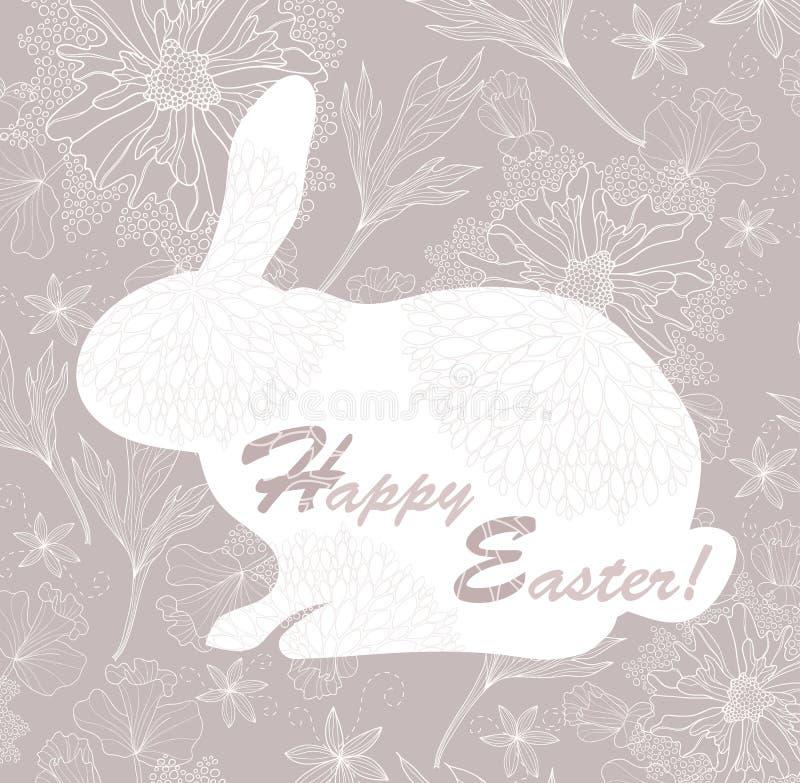 Carte de lapin de Pâques avec la configuration florale. illustration libre de droits