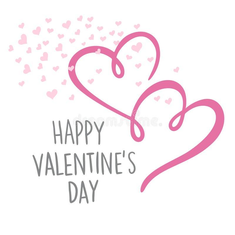 Carte de lettrage heureuse de jour du ` s de Valentine Illustration de vecteur illustration libre de droits