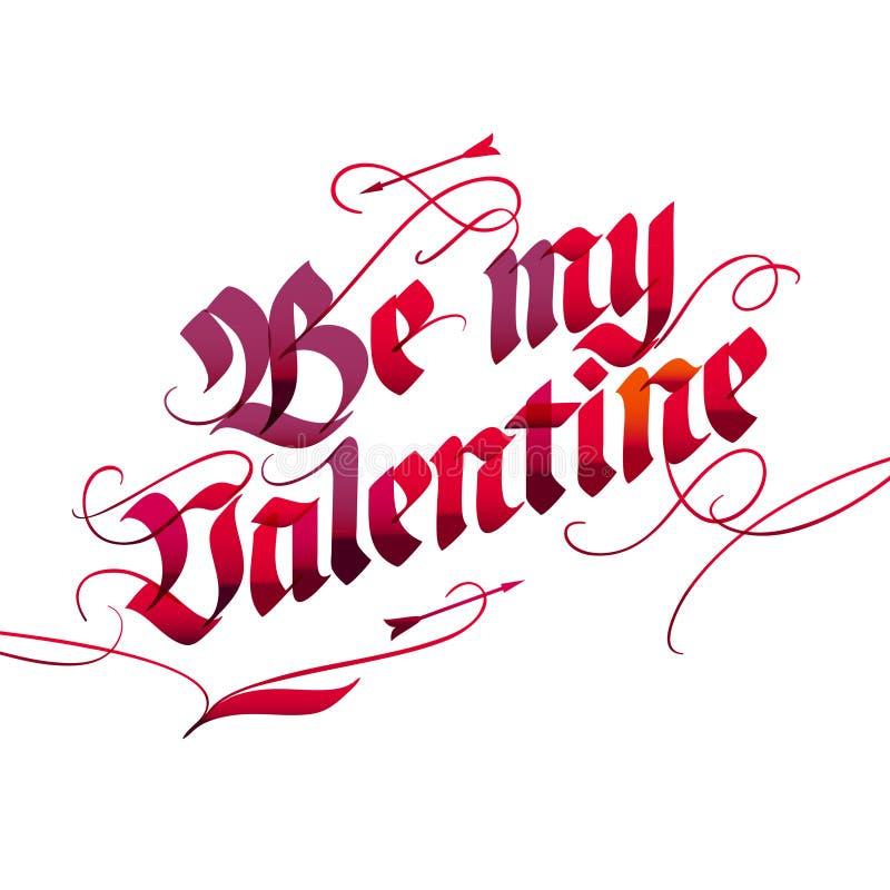 Carte de lettrage de jour du ` s de Valentine illustration de vecteur