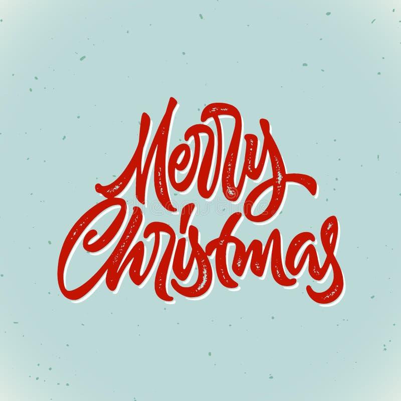 Carte de lettrage tirée par la main calligraphique de Joyeux Noël avec le style d'impression typographique de vintage de hippie p illustration de vecteur