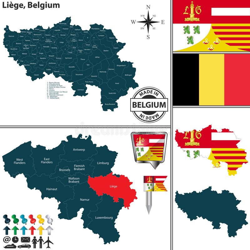 Carte de Liège, Belgique illustration libre de droits