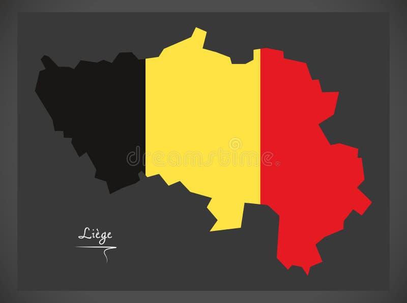Carte de Liège de la Belgique avec l'illustration belge de drapeau national illustration libre de droits
