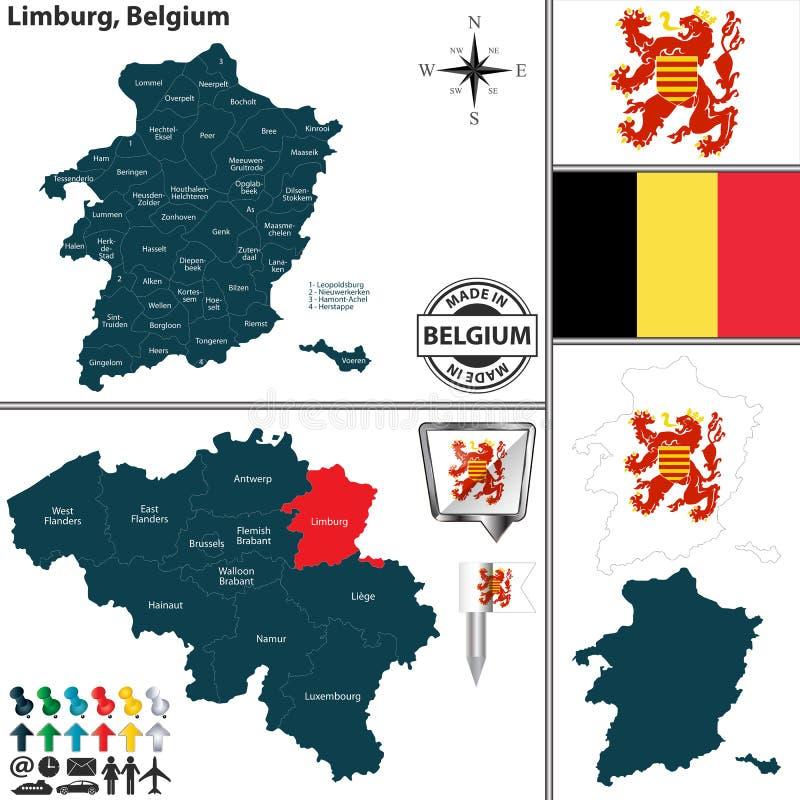 Carte de Limbourg, Belgique illustration libre de droits