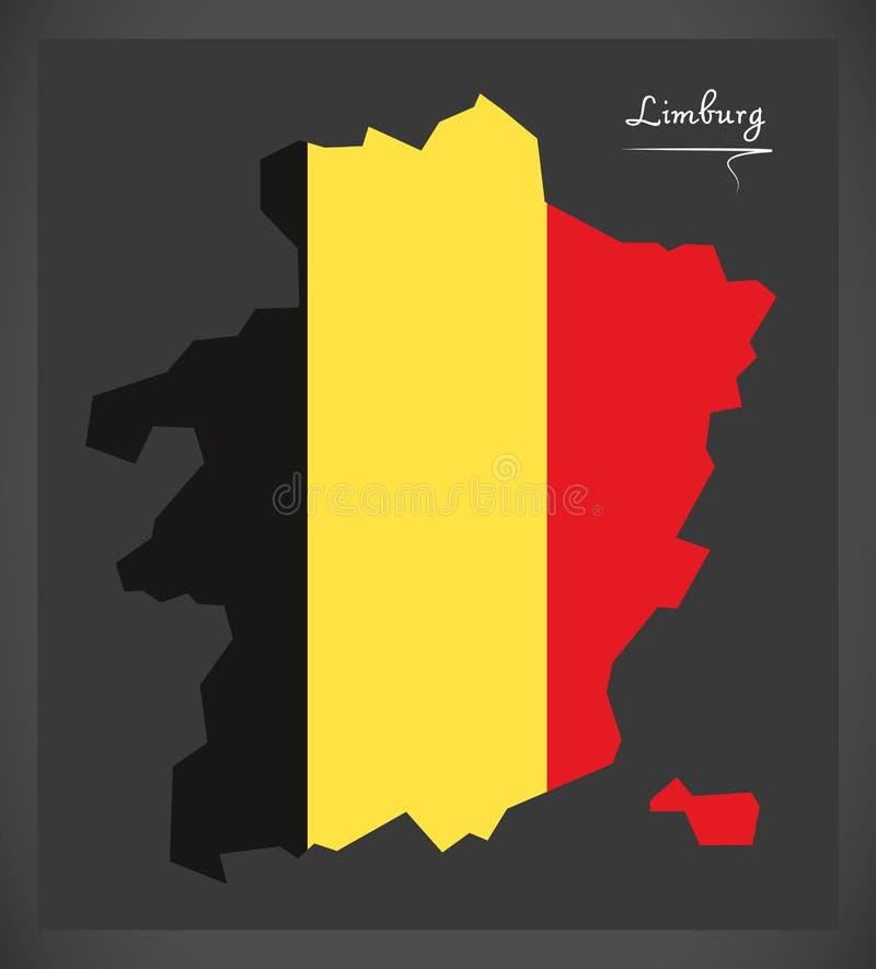 Carte de Limbourg de la Belgique avec l'illustration belge de drapeau national illustration stock