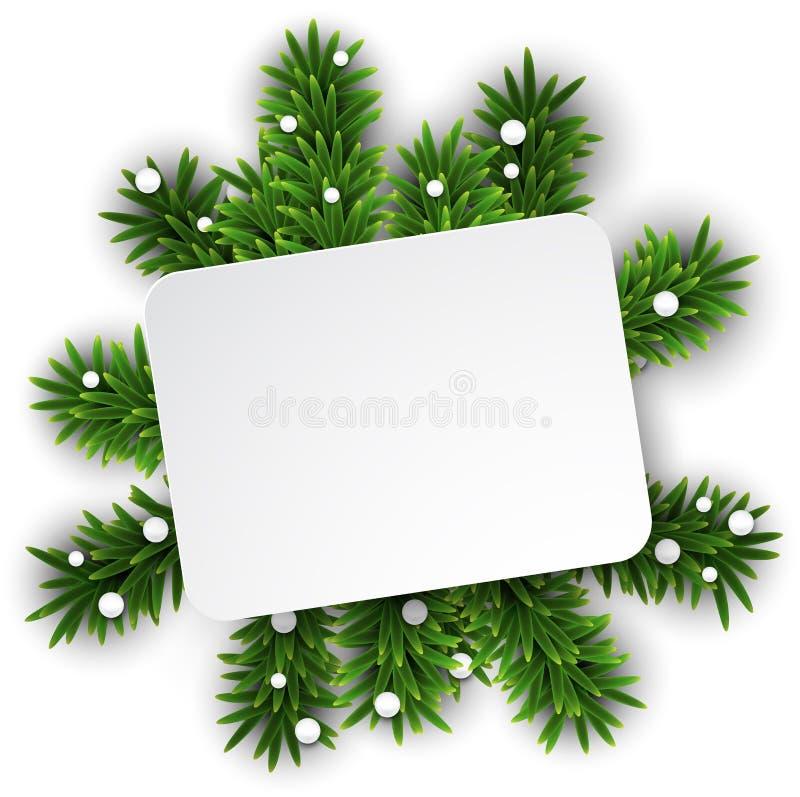 Carte de livre blanc au-dessus des branches de réveillon de Noël. illustration libre de droits