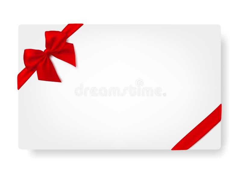 Carte de livre blanc avec l'arc rouge de satin de cadeau photos stock