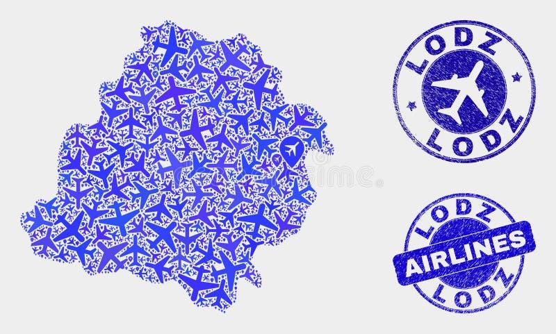 Carte de Lodz Voivodeship de vecteur de composition en avions et timbres grunges illustration stock