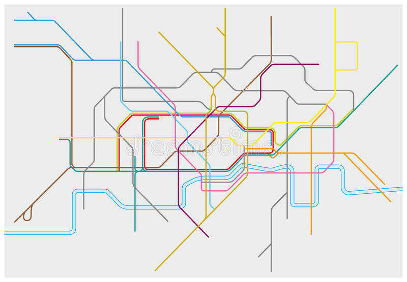 Carte de Londres au fond, à la surface du sol, de DLR, et de Crossrail illustration libre de droits