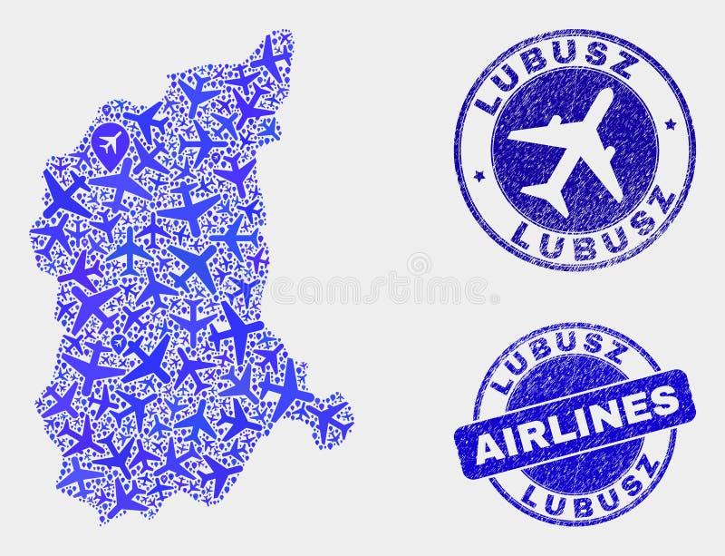 Carte de Lubusz Voivodeship de vecteur de mosaïque d'avion d'air et timbres grunges illustration de vecteur