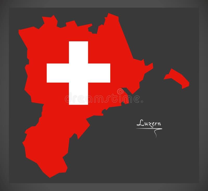 Carte de Lucerne de la Suisse avec l'illustration suisse de drapeau national illustration de vecteur