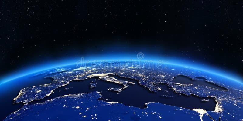 Carte de lumières de ville de l'Europe et de l'Afrique du Nord illustration de vecteur