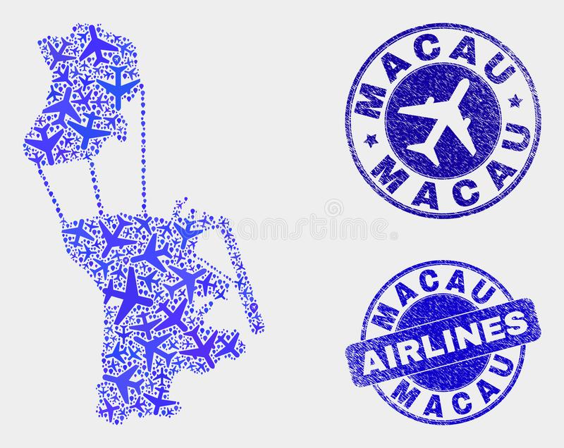 Carte de Macao de vecteur de composition en avion et timbres grunges illustration de vecteur