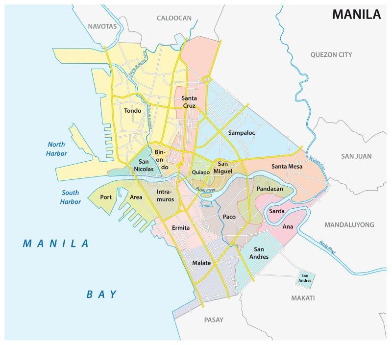 Carte de Manille administrative, politique et de route de vecteur, Philippines illustration libre de droits