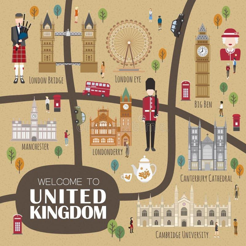 Carte de marche du Royaume-Uni illustration stock