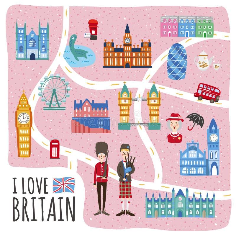 Carte de marche du Royaume-Uni illustration de vecteur