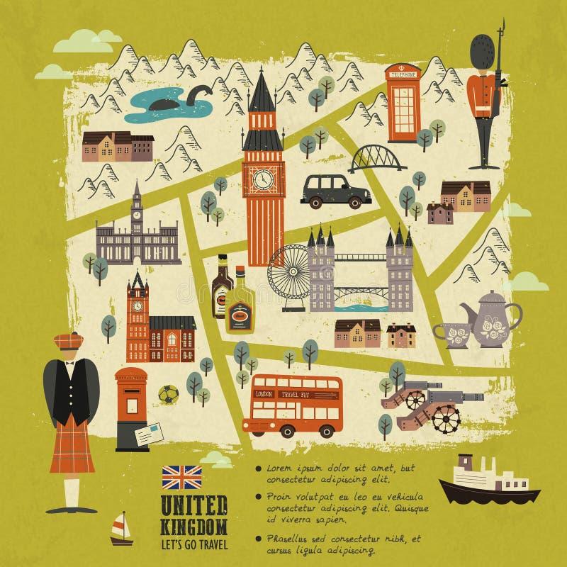 Carte de marche du Royaume-Uni illustration libre de droits