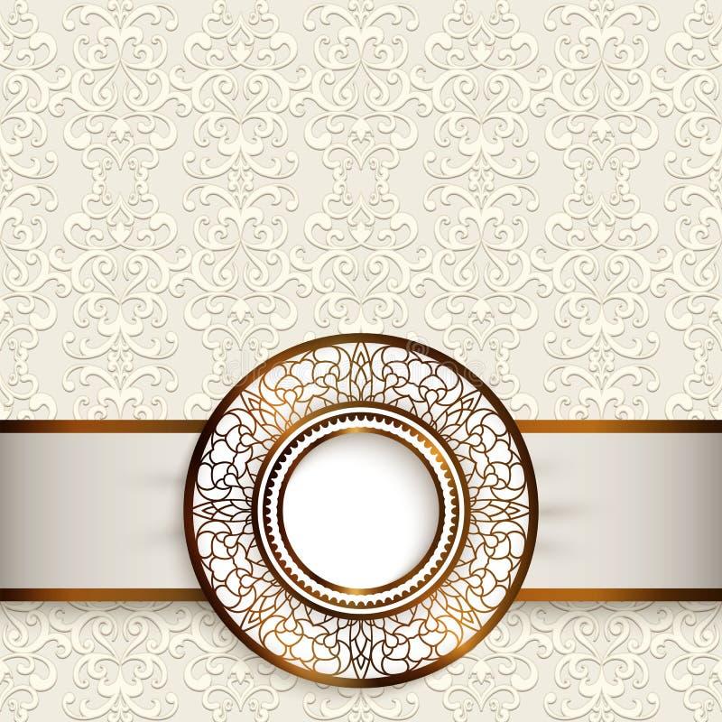 Carte de mariage avec le label ornemental d'or illustration de vecteur