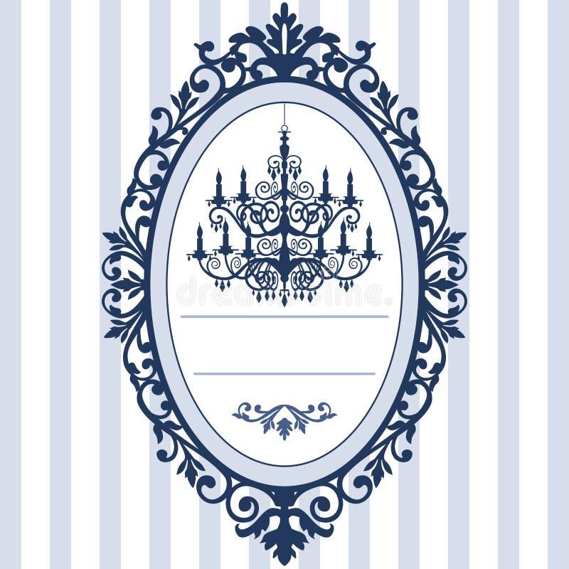 Carte de mariage avec le lustre de cru illustration de vecteur
