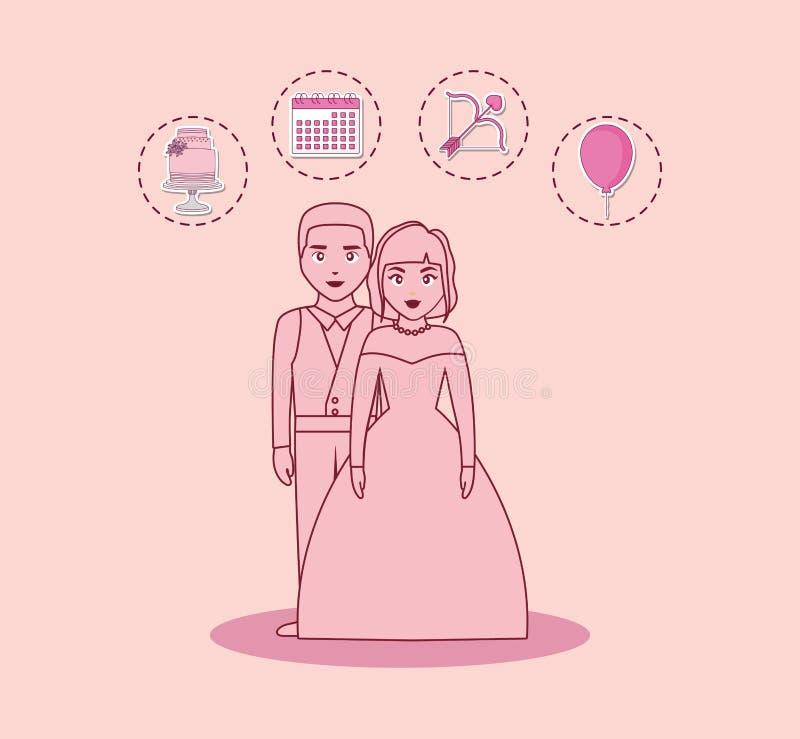 Carte de mariage avec les ménages mariés illustration libre de droits