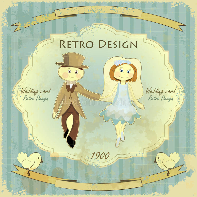 Carte de mariage de conception de cru illustration stock
