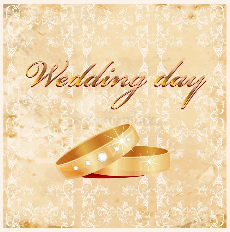 Carte de mariage de cru illustration stock
