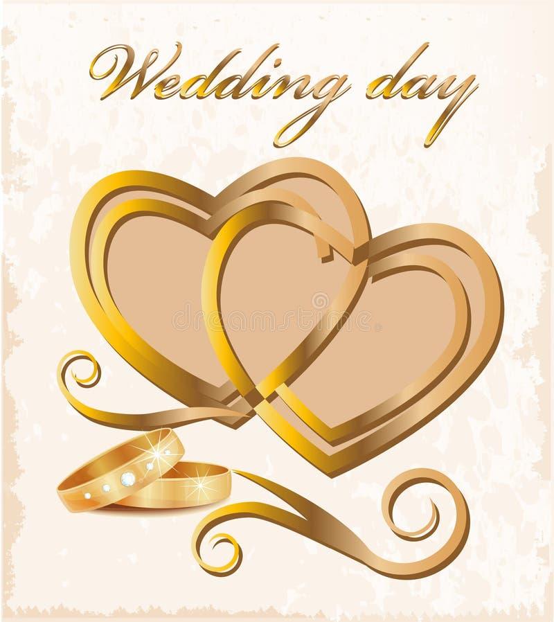 Carte de mariage de cru. illustration libre de droits