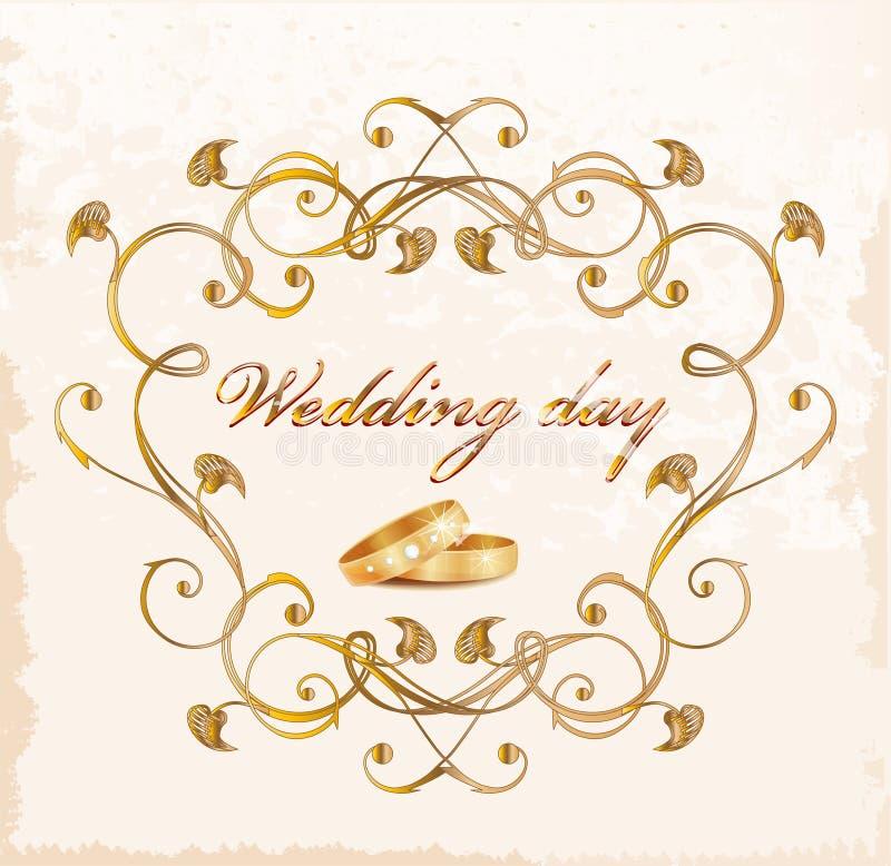 Carte de mariage de cru. illustration de vecteur