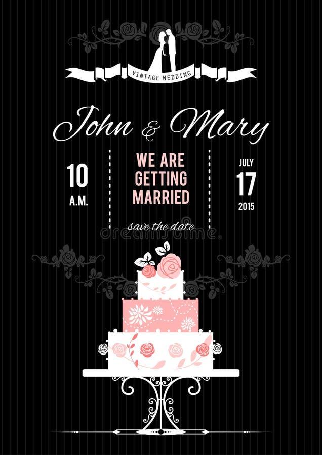 Carte de mariage de vecteur avec le gâteau de mariage illustration libre de droits