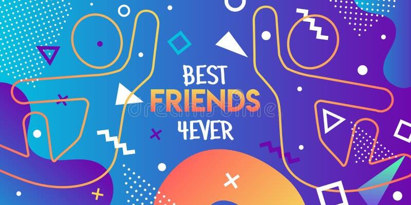 Carte de meilleurs amis de la rétro haute cinq de l'ami 90s illustration de vecteur