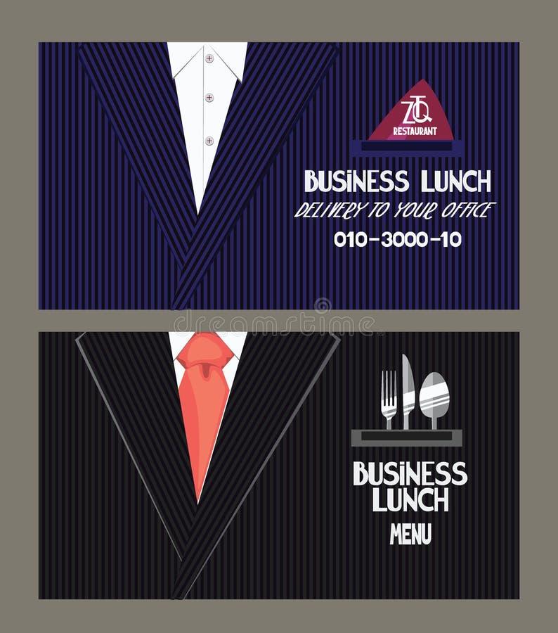 Carte de menu et de service de distribution de déjeuner d'affaires illustration stock