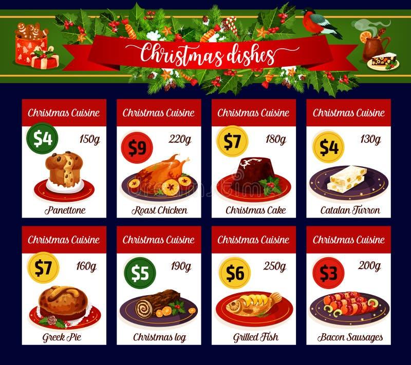 Carte de menu de Noël de dîner de vacances d'hiver illustration libre de droits