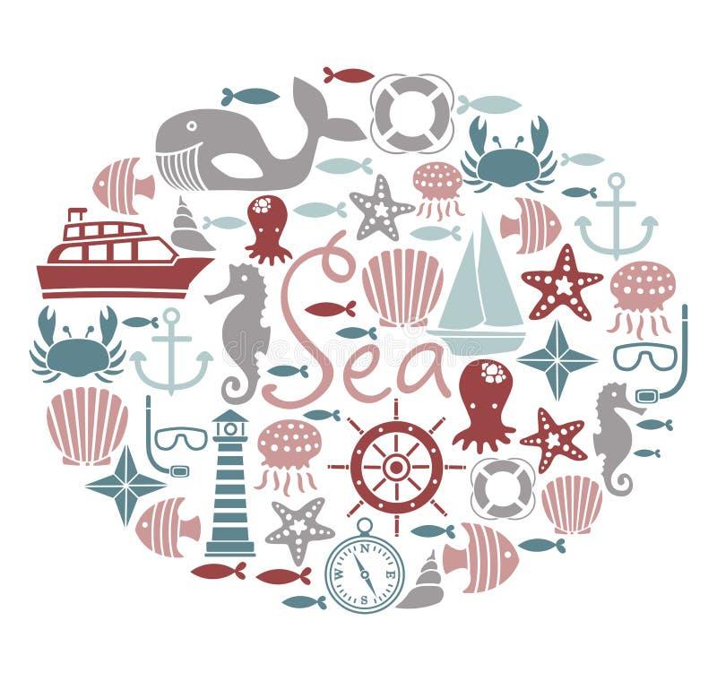 Carte de mer illustration de vecteur