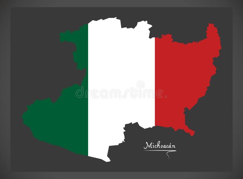 Carte de Michoacan avec l'illustration mexicaine de drapeau national illustration libre de droits