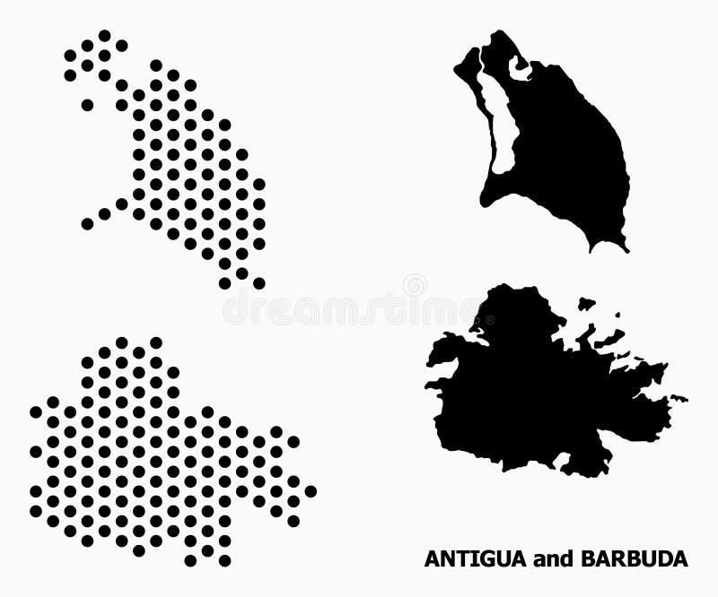 Carte de modèle de Pixelated de l'Antigua-et-Barbuda illustration libre de droits