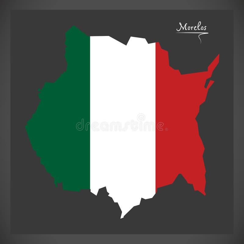 Carte de Morelos avec l'illustration mexicaine de drapeau national illustration libre de droits