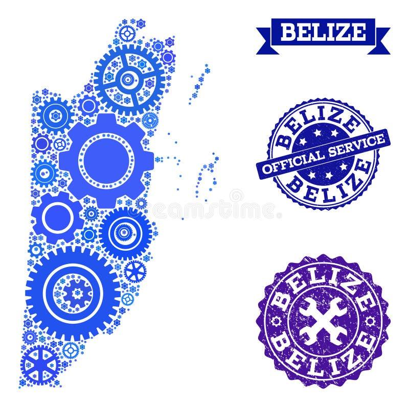 Carte de mosaïque de Belize avec des dents et des tampons en caoutchouc pour des services illustration de vecteur