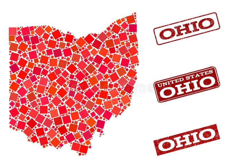 Carte de mosa?que d'?tat de l'Ohio et de composition grunge de joint d'?cole illustration stock