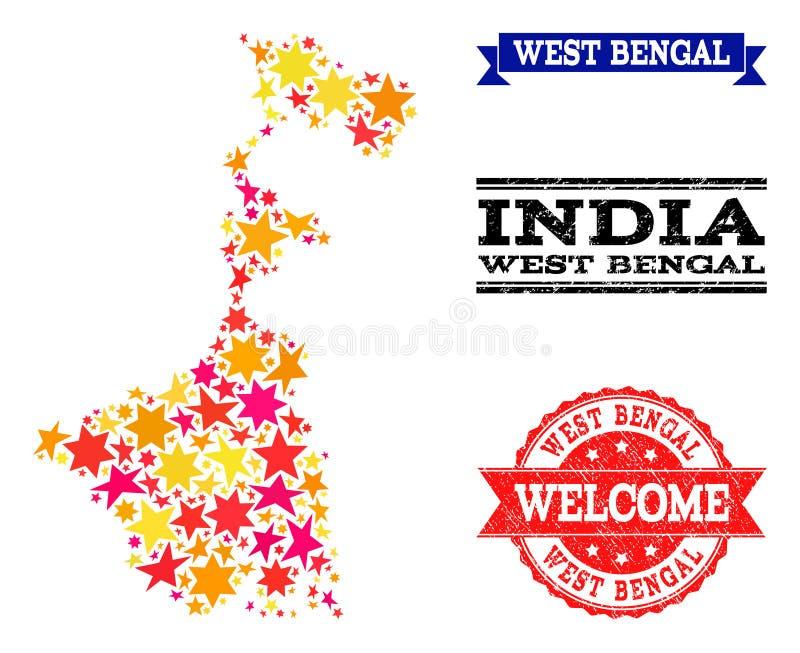 Carte de mosaïque d'étoile d'état du Bengale-Occidental et de filigranes grunges illustration de vecteur