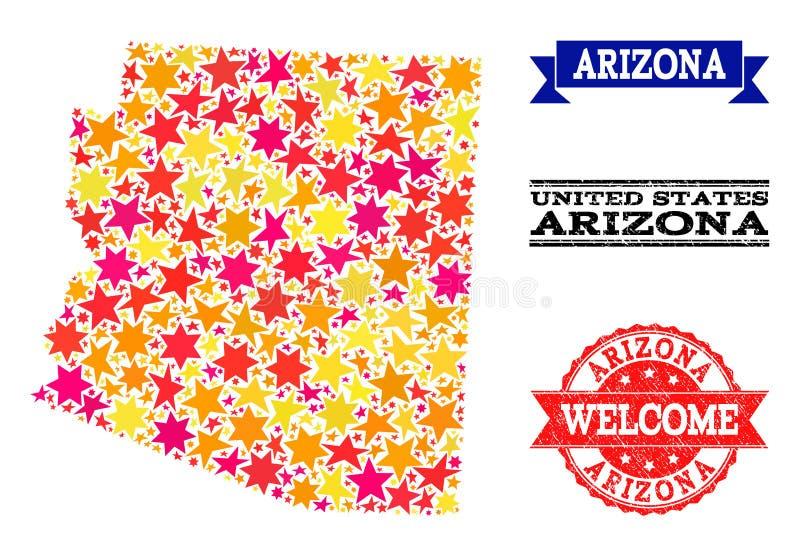 Carte de mosaïque d'étoile d'état et de tampons en caoutchouc de l'Arizona illustration stock