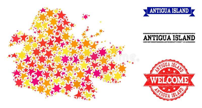 Carte de mosaïque d'étoile d'île de l'Antigua et de filigranes grunges illustration de vecteur
