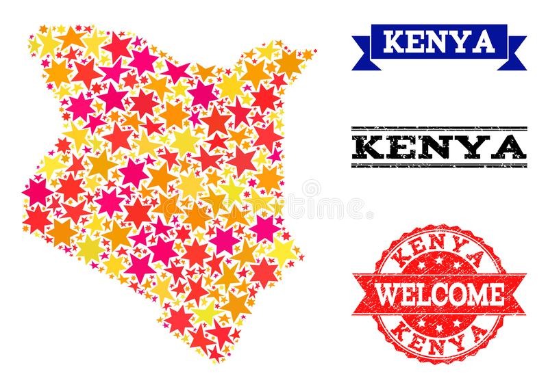 Carte de mosaïque d'étoile du Kenya et des timbres grunges illustration libre de droits