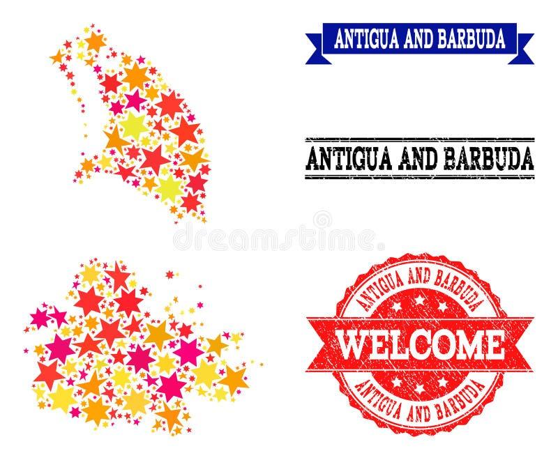 Carte de mosaïque d'étoile de l'Antigua-et-Barbuda et des filigranes grunges illustration stock