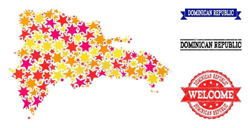 Carte de mosaïque d'étoile de la République Dominicaine et des tampons en caoutchouc illustration libre de droits