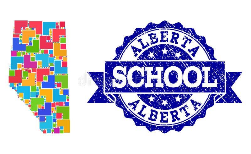 Carte de mosaïque d'Alberta Province et de collage grunge de joint d'école illustration stock